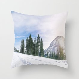 Alpine road through the snow Throw Pillow