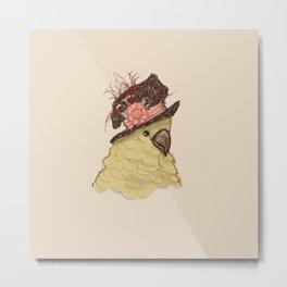 Bird in Hat 2 (Cockatoo) Metal Print