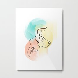Colorful Line Art of Woman and Dog Embrace Metal Print