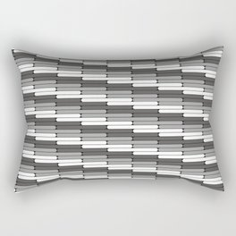 Staggered Oblong Rounded Lines Pattern Pantone Pewter Gray Rectangular Pillow