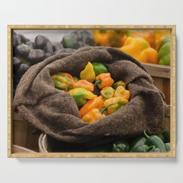 Chili Peppers in burlap bag  Serving Tray