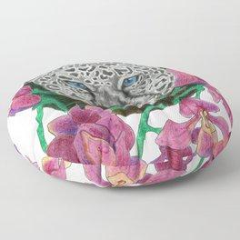Snow panther hidden in magnolias Floor Pillow