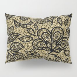 Black and Gold Lace Effect Floral Pillow Sham