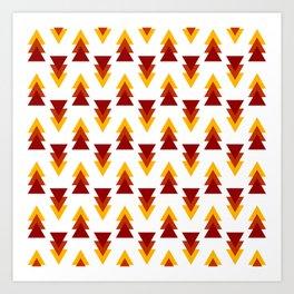 Red Yellow Purple Alternating Arrows Pattern Art Print