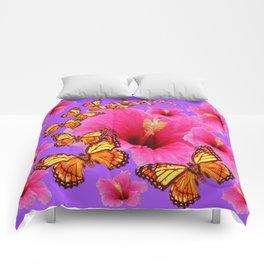 DECORATIVE MONARCH BUTTERFLIES  PINK HIBISCUS   PURPLE ART Comforters
