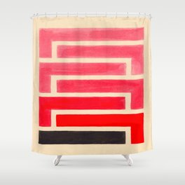 Geometric Pattern Watercolor Painting Shower Curtain