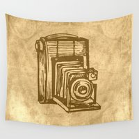 vintage camera Wall Tapestries featuring Vintage Camera by haroulita