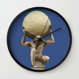 Man with Big Ball Illustration dark blue Wall Clock