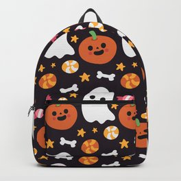 Happy halloween pattern with ghosts, pumpkins, bones and sweets Backpack