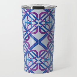 Interlaced Love Mandala Tiled - Blue Violet Travel Mug