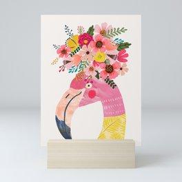 Pink flamingo with flowers on head Mini Art Print