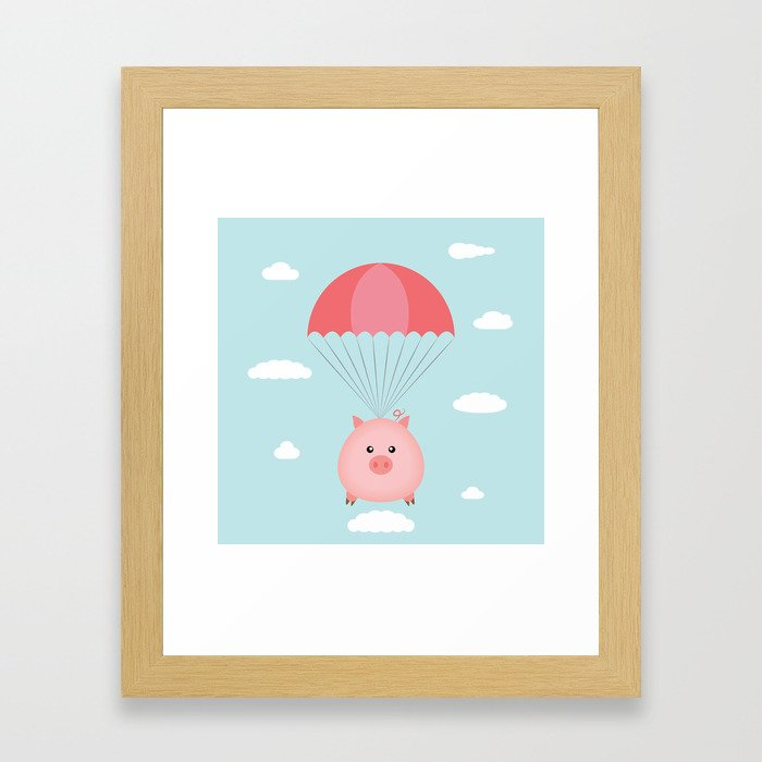 Baby Pig in a Parachute Framed Art Print