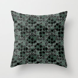 Minimal spots abstract dots and ink speckles snow and rain winter forest green Throw Pillow