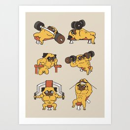 Chest Day with The Pug Art Print