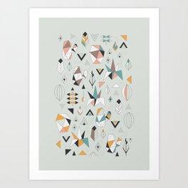 Geometric boho succulents Art Print