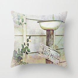 Redneck Birdbath Throw Pillow