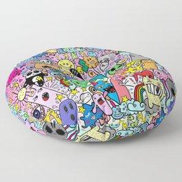 Doodle Monsters Comic Rainbow Floor Pillow
