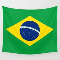 napoleon Wall Tapestries featuring Brazilian National flag Authentic version (color & scale) by Bruce Stanfield