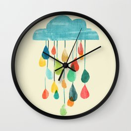 cloudy with a chance of rainbow Wall Clock