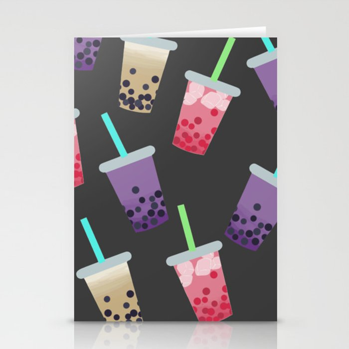 bubble tea party stationery cards by krebscreations society6
