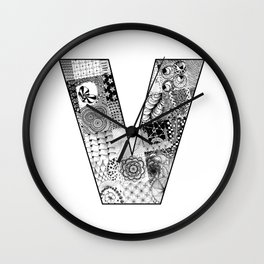 Cutout Letter V Wall Clock