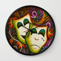 theatre Wall Clocks featuring Masks (Theatre) by Alexa Brooke Rutledge