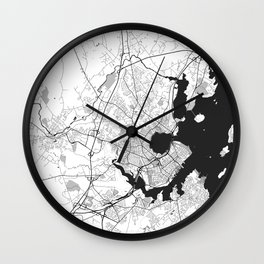 Portland Maine Map Gray Wall Clock