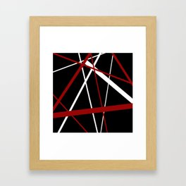 Red and White Stripes on A Black Background Vector Framed Art Print