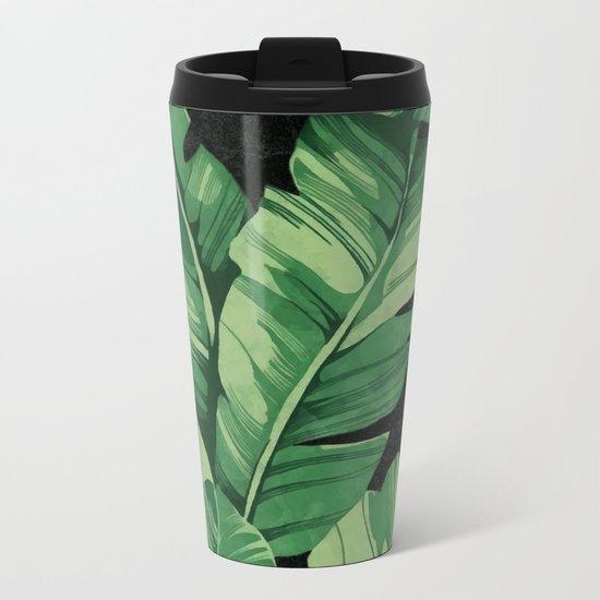 Tropical banana leaves II Metal Travel Mug