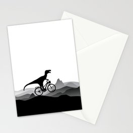 DINO Bicycle - Dinosaur on bicycle - T-rex - Dino Collection Stationery Cards