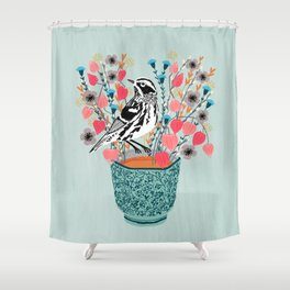 Tea and Flowers - Black and White Warbler by Andrea Lauren Shower Curtain