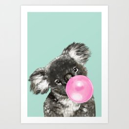 Playful Koala Bear with Bubble Gum in Green Art Print