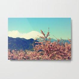 Mountains & Flowers Landscape Metal Print