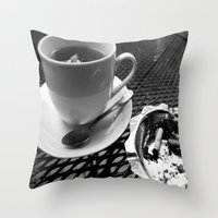 cafe Throw Pillows featuring cafe by Emily Baker Photography and Design