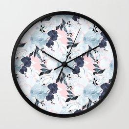 Cute White, Blue & Blush Floral Watercolor Paint Wall Clock