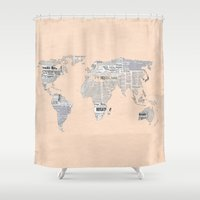 newspaper Shower Curtains featuring Newspaper World Map by Aztec Pineapple