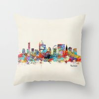manchester Throw Pillows featuring Manchester England skyline by bri.buckley