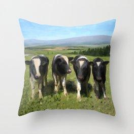 Curious Kiwi Cows Throw Pillow