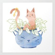Cat Plant Art Print