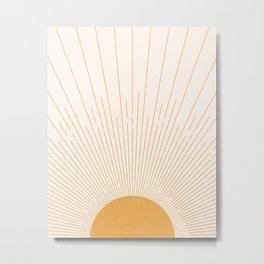 Solar Rays Boho Decor, Mid Century Modern Minimalist Sun Decor, Mustard Sunburst Metal Print