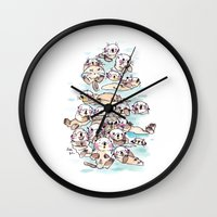 otters Wall Clocks featuring Wild family series - Otters by Choc Ye