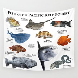 Fish of the Pacific Kelp Forest Wall Tapestry