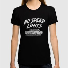 No Speed Limits Fast Tuned Engines Hot Rods Gray T-shirt