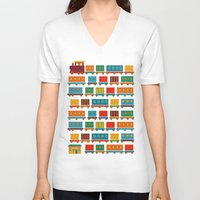 train V-neck T-shirts featuring Train by Kakel