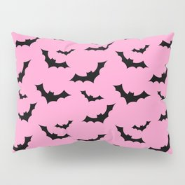 Black Bat Pattern on Pink Pillow Sham