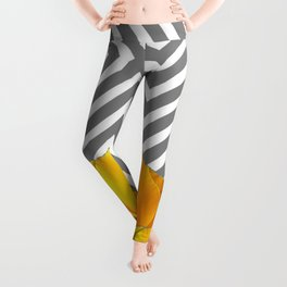 ABSTRACT CONTEMPORARY YELLOW POPPIES PATTERNS Leggings