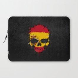 Flag of Spain on a Chaotic Splatter Skull Laptop Sleeve