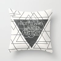 wander Throw Pillows featuring Wander by Crystal Manning