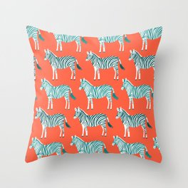 Zebra Parade Pattern Flame Teal Throw Pillow