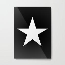 White star on black background Metal Print